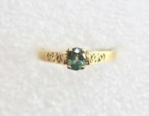 Blue-Green-Sapphire-14k-Ring-Yellow-Gold-Size-6-25-Natural-0-52-Carat-Sapphire