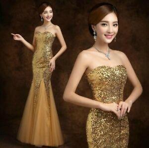 Bling-Sequined-Bridal-Wedding-Dress-Women-Mermaid-Dress-Full-Length-Dress-Size-L