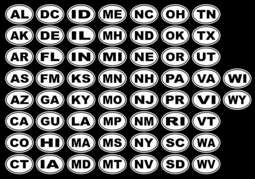 EURO OVAL ANY US STATE POSTAL CODE VINYL CAR DECAL STICKER NOT TWO COLORS