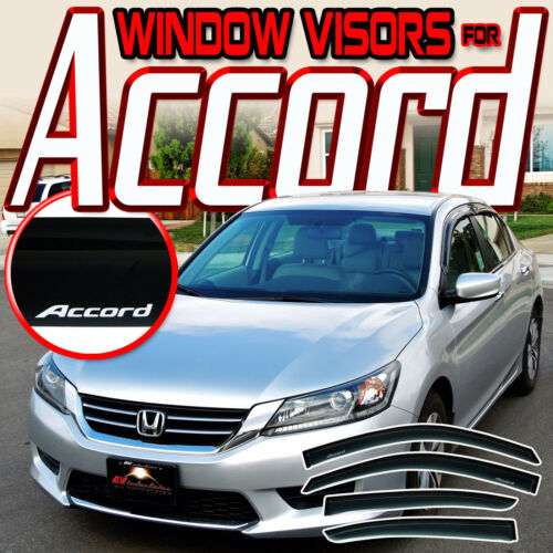 Guard Rain Deflector Vent 13-17 Honda Accord CR 4 Door Window Visors with Logo