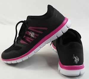U-S-Polo-Assn-Athletic-Shoes-Women-039-s-Size-8-Sneakers-Black-Fuchsia