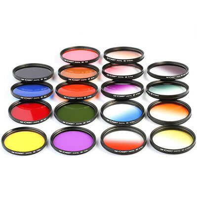 18pcs 58mm Full Color Graduated Color ND Lens Filter Kit For Canon 1100D 18-55mm