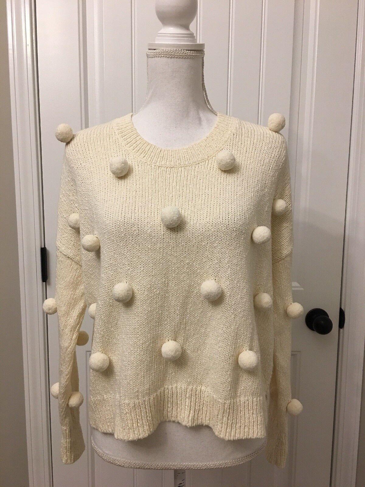 ny Madewell Pom -Pom Pulver tröja Ivory Sz Xs H6861