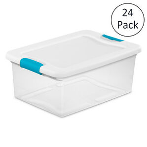 Sterilite 15-qt. Clear Stackable Latching Storage Box Container, 24 Pack | 1494