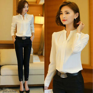 Fashion-Women-Ladies-Long-Sleeve-Loose-Blouse-Summer-V-Neck-Casual-Shirt-Tops
