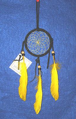 """Authentic Native American Dreamcatcher Navajo 3"""" hoop Black & Yellow #08"""