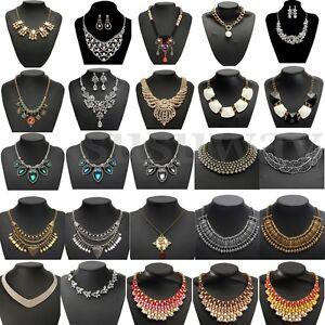 Crystal-Charm-Jewelry-Chain-Choker-Chunky-Statement-Bib-Pendant-Necklace-Set