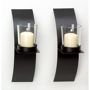 Details About New Modern Wall Sconce Candle Holder Set Of Two