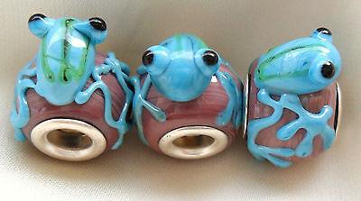 Cute Detailed Glass Lampwork Frog Bead Charm Handmade Gift Idea Uk Free Bag