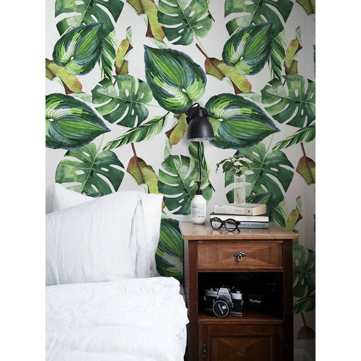 Non-woven wallpaper Palm Leaves Traditional Floral  Home Decor