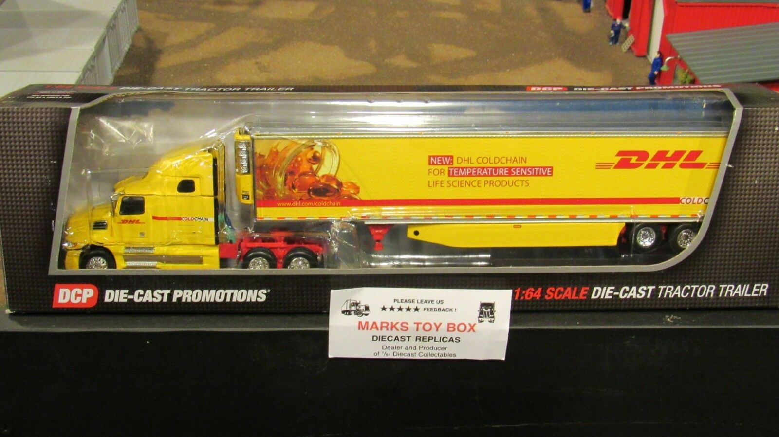 DCP 33888 DHL COLD-CHAIN WESTERN Stern 5700XE SEMI TRUCK REEFER TRAILER 1 64 CL