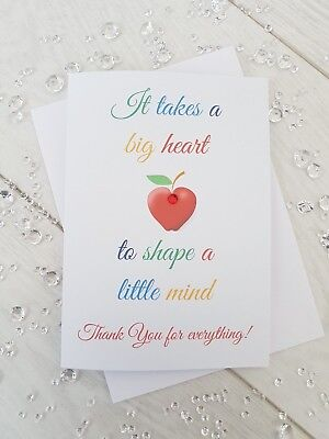 Personalised Thank you Teacher card Teaching Assistant Nursery School Apple