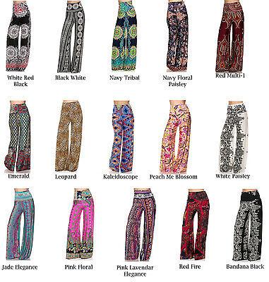 NEW Printed Design Palazzo Wide Leg High Waist Stretch Boho Pants S M L