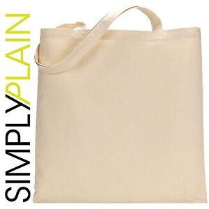 250x Premium 100% Cotton Plain Shopping Shoulder Tote Shopper Bags Wholesale Lot