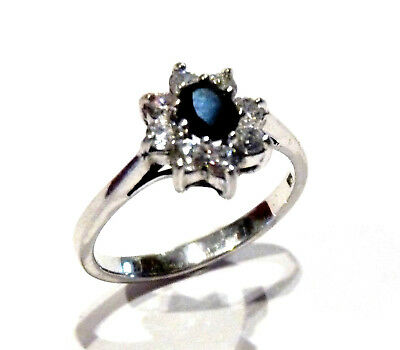 Fine Rings Learned Bijou Argent Superbe Bague Pierre Bleu Détails Oxydes Taille 54 Ring Jewelry & Watches