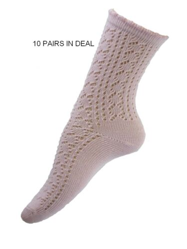 10 pairs in deal! Ladies Pink Cotton School Style Ankle Socks Size 4.8 foot