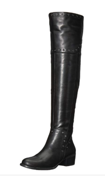 Vince Camuto Bestan Grommet Over-The-Knee Boots Size 5 M Silky Black