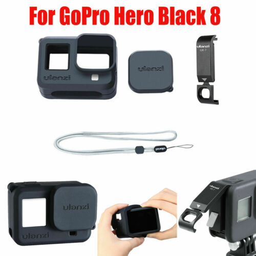Silicona Carcasa Cubierta protectora con tapa de batería para GoPro Hero Black 8