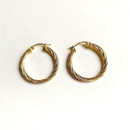 Gold Sterling Silver Twist Hoop Earrings