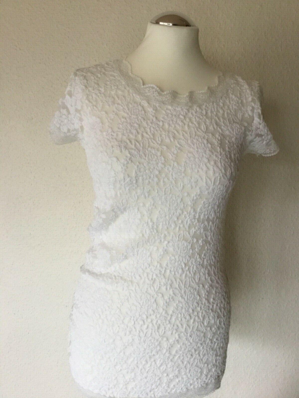 MARC CAIN Spitzen-Shirt, T-Shirt Größe 38, N3, weiß