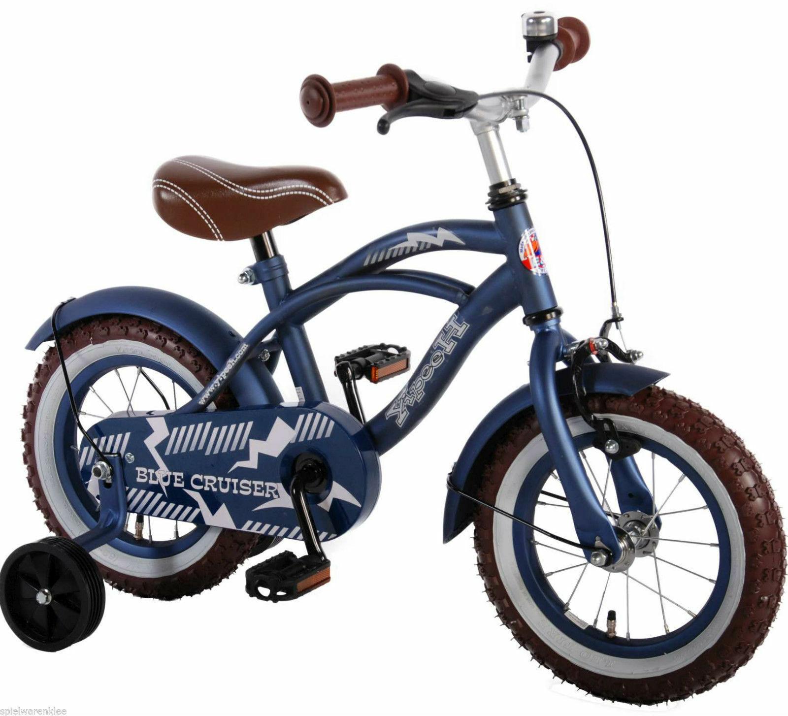 12 Zoll Fahrrad Qualitäts Kinderfahrrad matt Blau Stützräder Blau Cruiser 51201