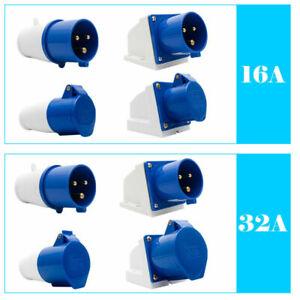 240V-16A-32A-3Pin-Blu-Industriale-Spina-E-prese-IP44Campeggio-Industriale-Uso