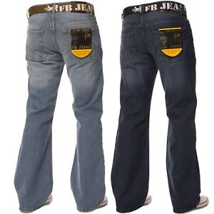FBM-Mens-Flare-Leg-Bootcut-Jeans-Wide-Fit-Blue-Free-Belted-Denim-Pants-All-Waist