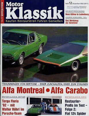 Auto & Motorrad: Teile Motor Klassik 12/92 1992 Alfa Carabo Montreal Mg B Morris Minor Auto Union Tiger Auswahlmaterialien