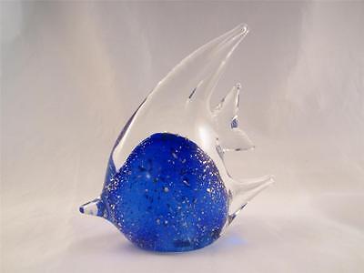 """41/2"""" Cobalt Blue Art Glass Angel Fish w/Silver Flecks Paperweight/Figurine"""