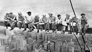 lunch on skyscraper 1920 s new york antique print photograph black