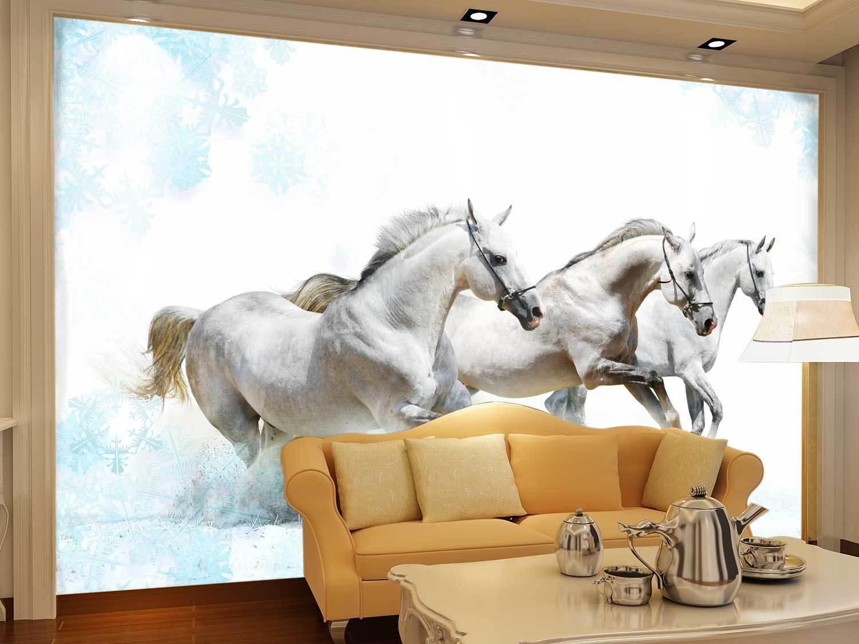 3D Drei whitees Pferd 74 Tapete Wandgemälde Tapete Tapeten Bild Familie DE Summer