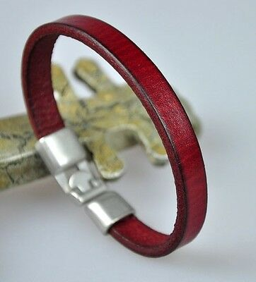 Simply Cool Single Band Genuine Leather Bracelet Wristband Men's Cuff DARK RED
