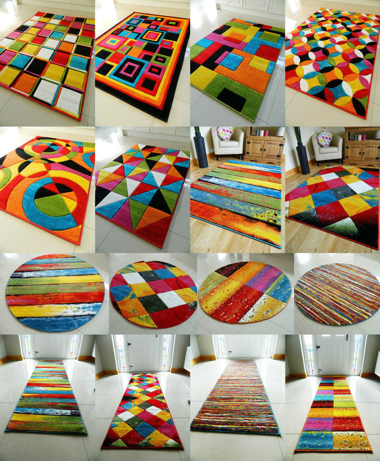 Funky Rainbow Colored Area Rugs: MULTI COLOURED FUNKY BRIGHT MODERN THICK SOFT HEAVY AREA