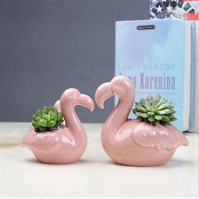 Romantic Flamingo Ceramic Flower Pot for Succulents Cactus Plants Pot Planter 0U