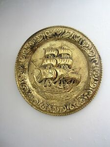 Vintage Awesome Round Brass Wall Hanging Ship Metal Plate Wall