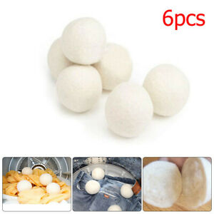 6pcs-Wool-Dryer-Balls-Reusable-Natural-Organic-Laundry-Fabric-Softener-Ball-sale