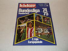 kicker Sportmagazin Sonderheft 1974/1975 Fußball-Bundesliga-Saison 74/75, selten