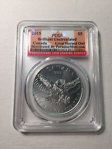 2015-Canada-Silver-Great-Horned-Owl-5-Dollars-PCGS-Brilliant-Uncirculated