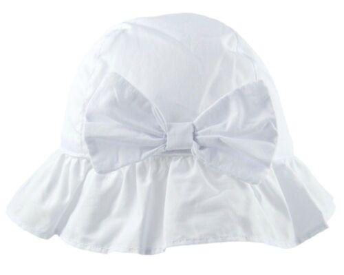 Baby Girls Sun Hat With Bow Summer Cotton Bucket Wide Brim Toddler 0-18 Months