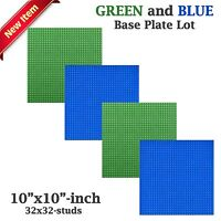 Genuine Lego Minifigure + 4 Green & Blue 10x10 Base Plates Compatible With Lego