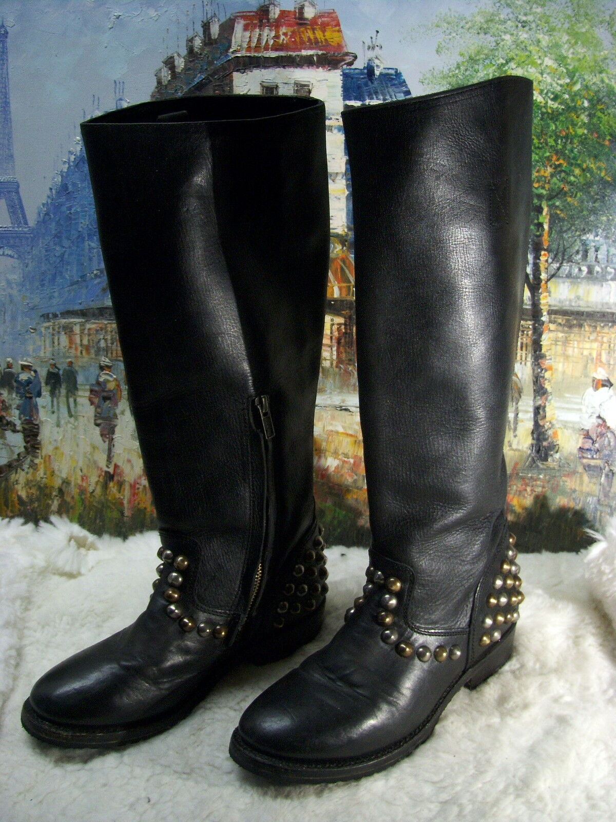 Ash Vamos Bis Studded Leather Knee-Length Boot - Size 37.5 -  395