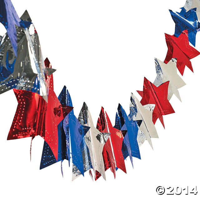 4th of July PATRIOTIC Election Party Decoration Metallic FOIL STAR GARLAND 9 ft
