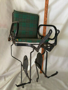 Leco-Bicycle-Part-VTG-Kids-Seat-Chair-Booster-Antique-MCM-Retro-Green-Plaid