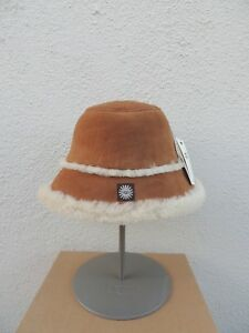 b59982483 Details about UGG 2017 CHESTNUT SUEDE SHEEPSKIN LINED BUCKET HAT, WOMENS  L/XL ~NWT
