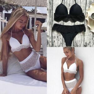 1031257d6 US Women SEXY Tankini Lace High Waist Bikini Set Pushup Bra Swimsuit ...