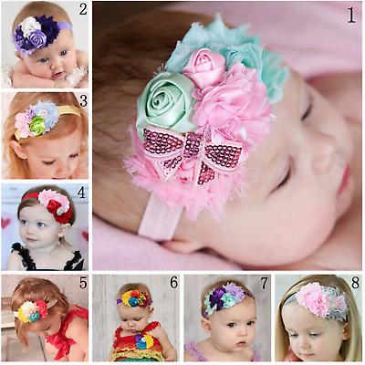 Newborn Baby Girl Infant Toddler Daisy Headband Flower Bow Headwear Hair Band UK
