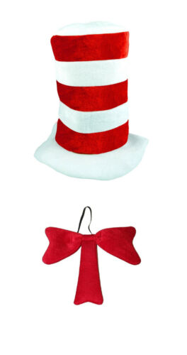 Cat in the Hat World Book Day Week Fancy Dress Costume Striped Hat /& Bow Tie Set