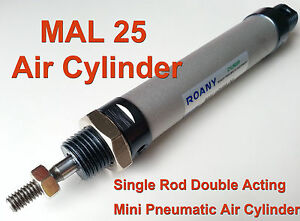 NEW MAL 25mm x 50mm Single Rod Double Acting Mini Pneumatic Air Cylinder 25x50