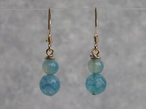 Gold Plated Blue Agate Semi Precious Stone Dangle / Drop Earrings       (mz18)