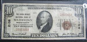 1929-SERIES-10-BROWN-SEAL-NATIONAL-CURRENCY-WATERTOWN-NOTE